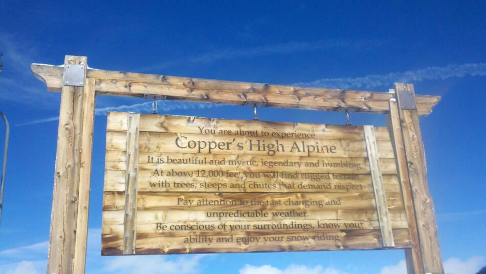 Copper Mountain Ski Resort High Alpine Terrain Sign