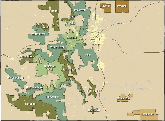 National Forests Grasslands Map