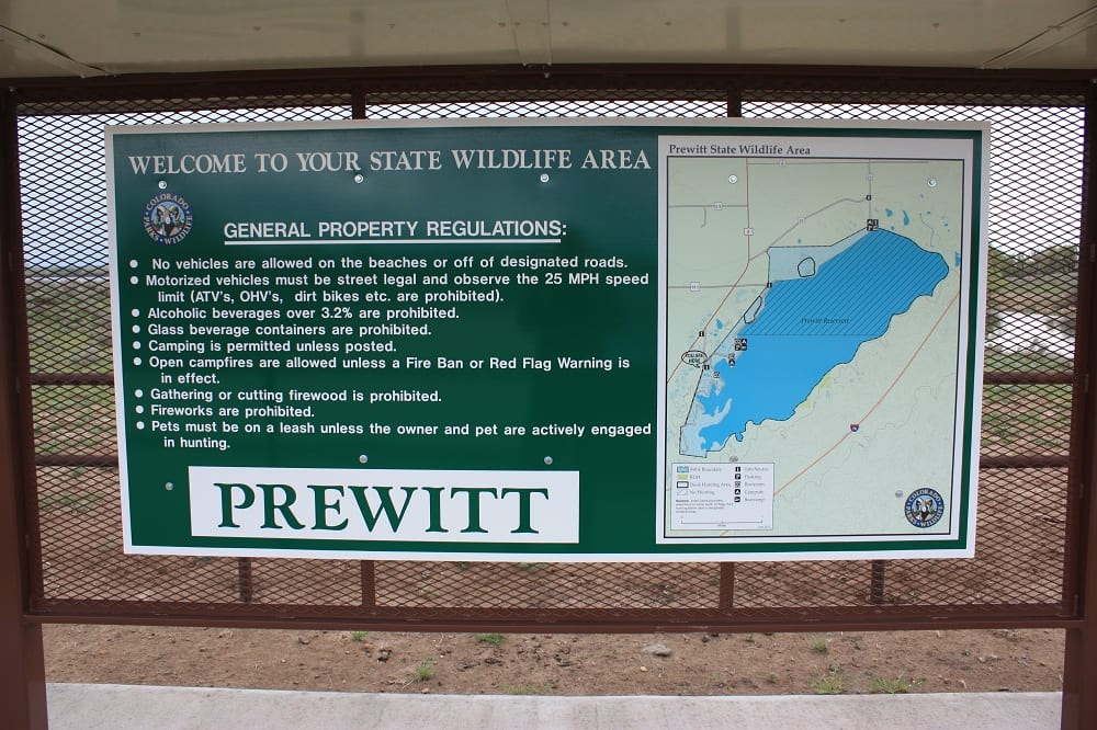 Prewitt Reservoir Entrance Sign