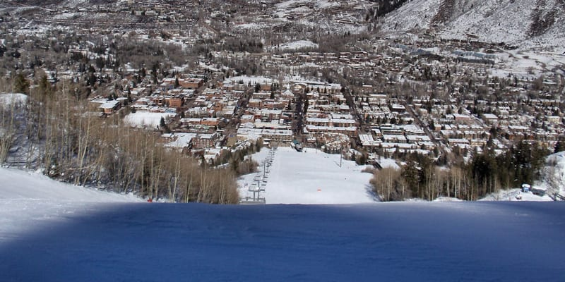 Aspen Mountain Town Aerial
