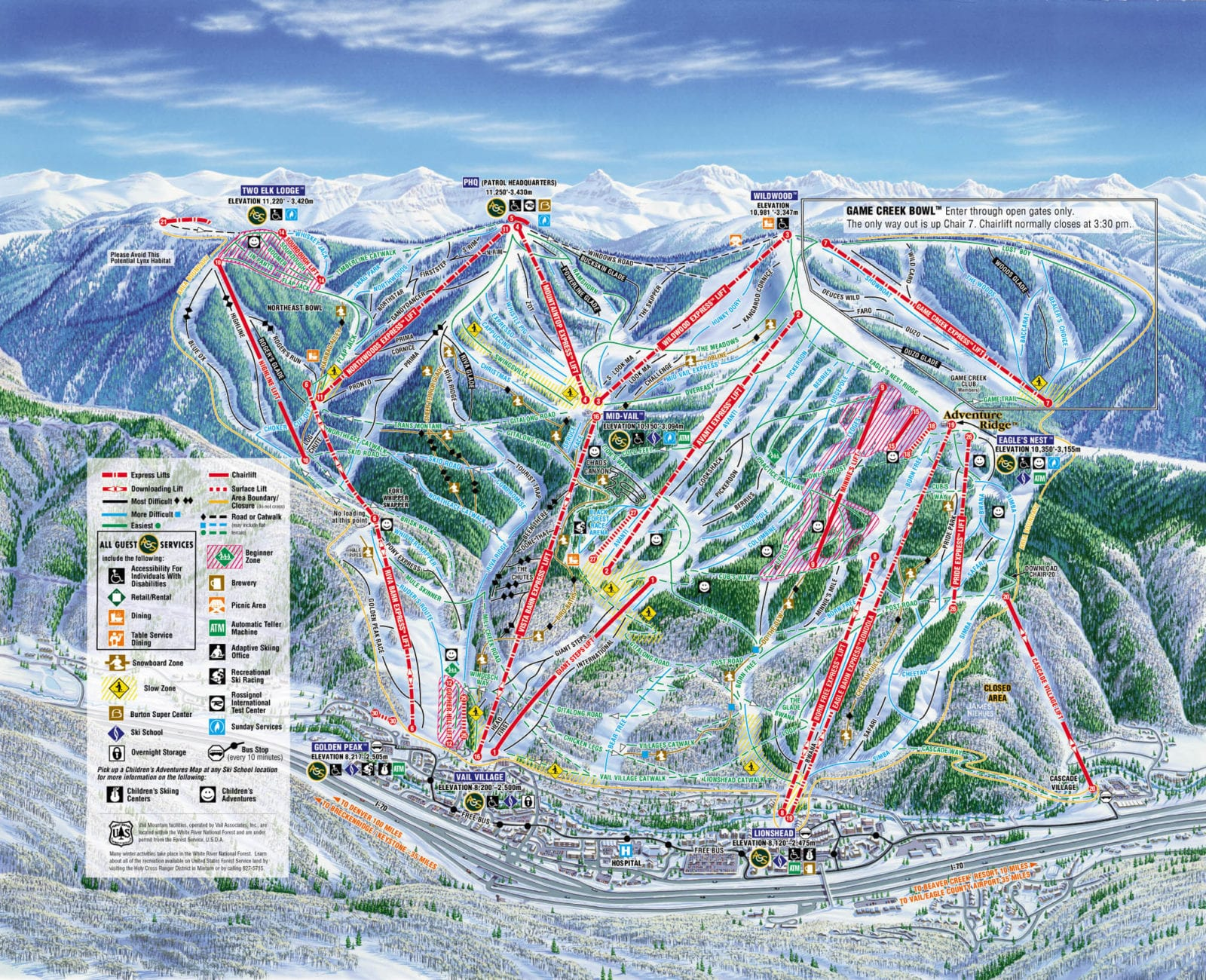 Vail Ski Resort Colorado Ski Areas - Map of colorado ski resorts and cities
