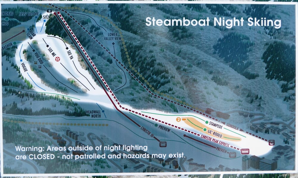 Steamboat Ski Resort Night Trail Map