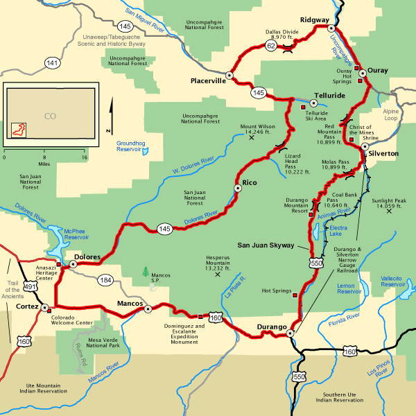 San Juan Skyway National Scenic Byway Scenic Drive From