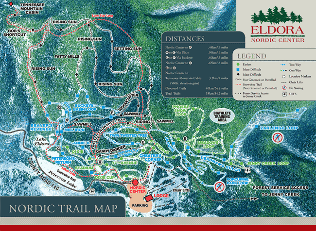 Eldora Nordic Center Trail Map
