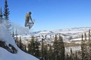Steamboat Springs Backcountry Snowboarder Jump