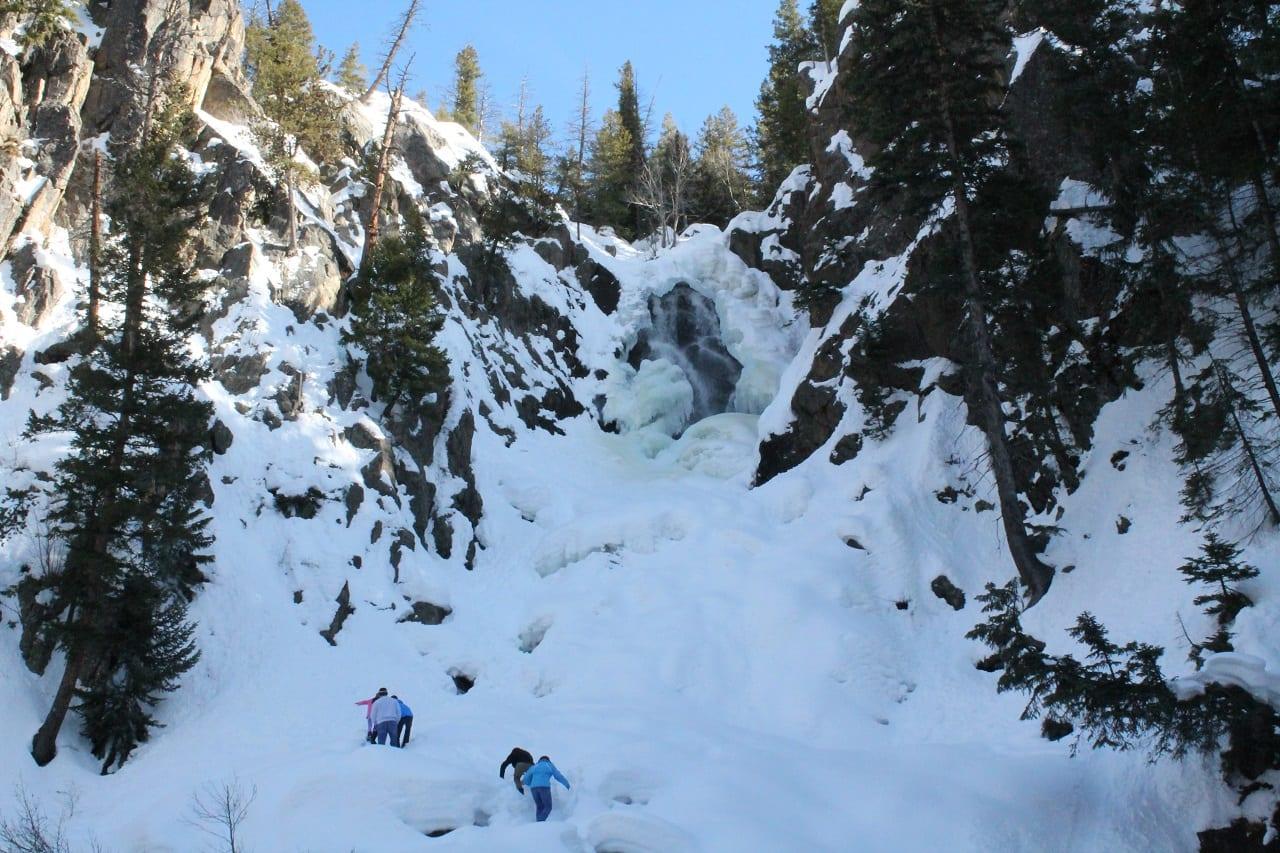 Frozen Fish Creek Falls Hikers Steamboat Springs