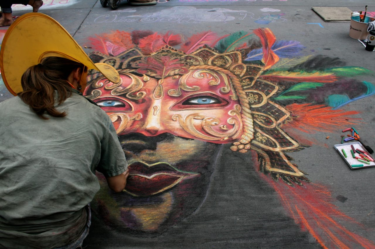 Denver Chalk Art Festival Venetian Mask