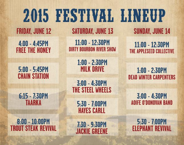 Palisade Bluegrass Roots Festival Lineup