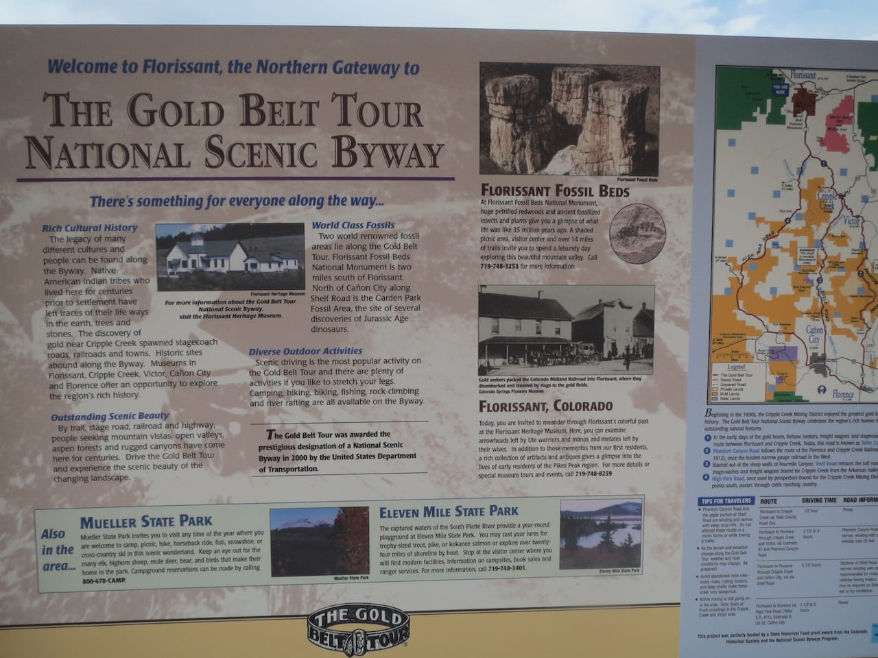 Florissant CO Gold Belt Tour Map