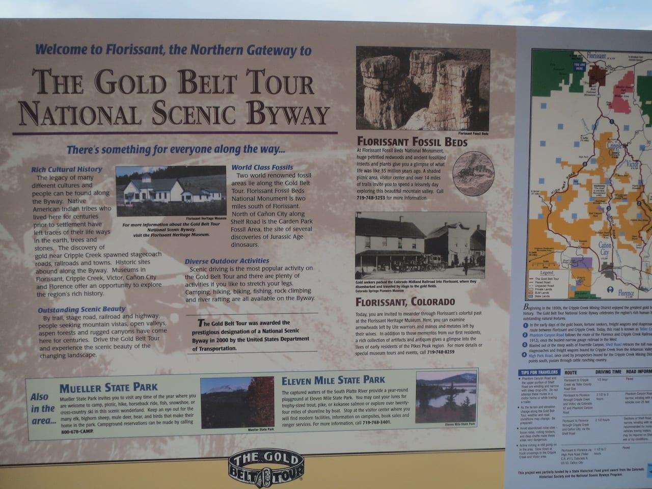 Florissant CO Gold Belt Tour Map