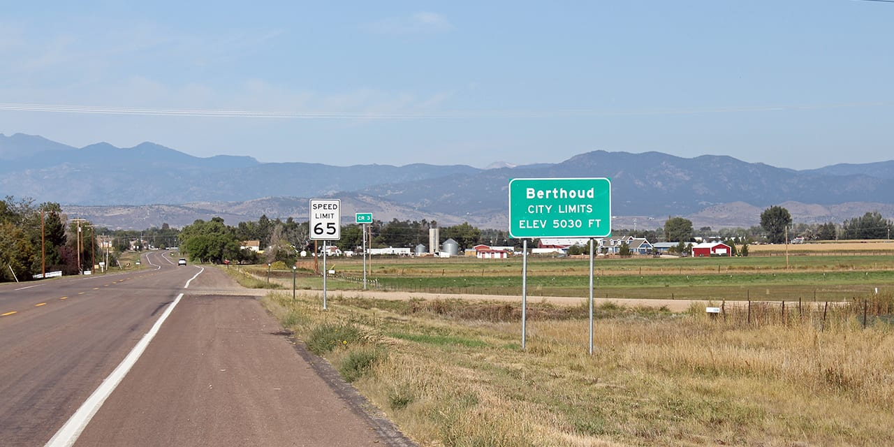 Berthoud Colorado Welcome Sign