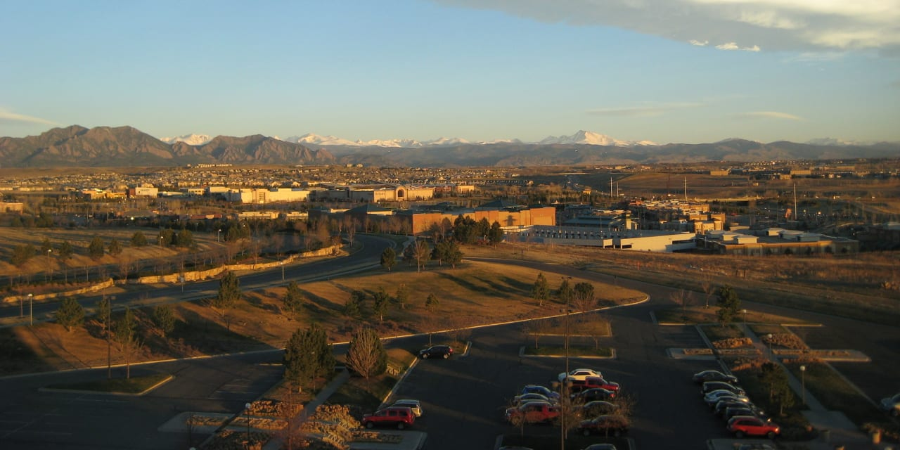 Broomfield Colorado Aerial View Sunrise