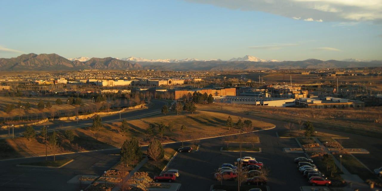 Broomfield Colorado Aerial View Sunrise