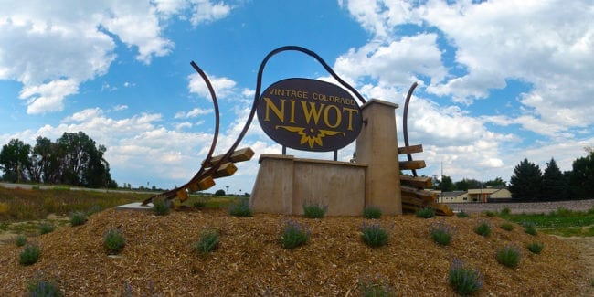Niwot Colorado Welcome Sign