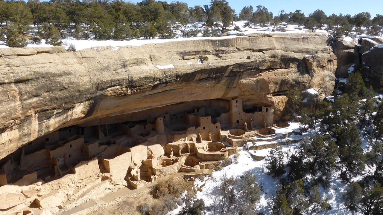 Mesa Verde Cliff Palace Winter Snow
