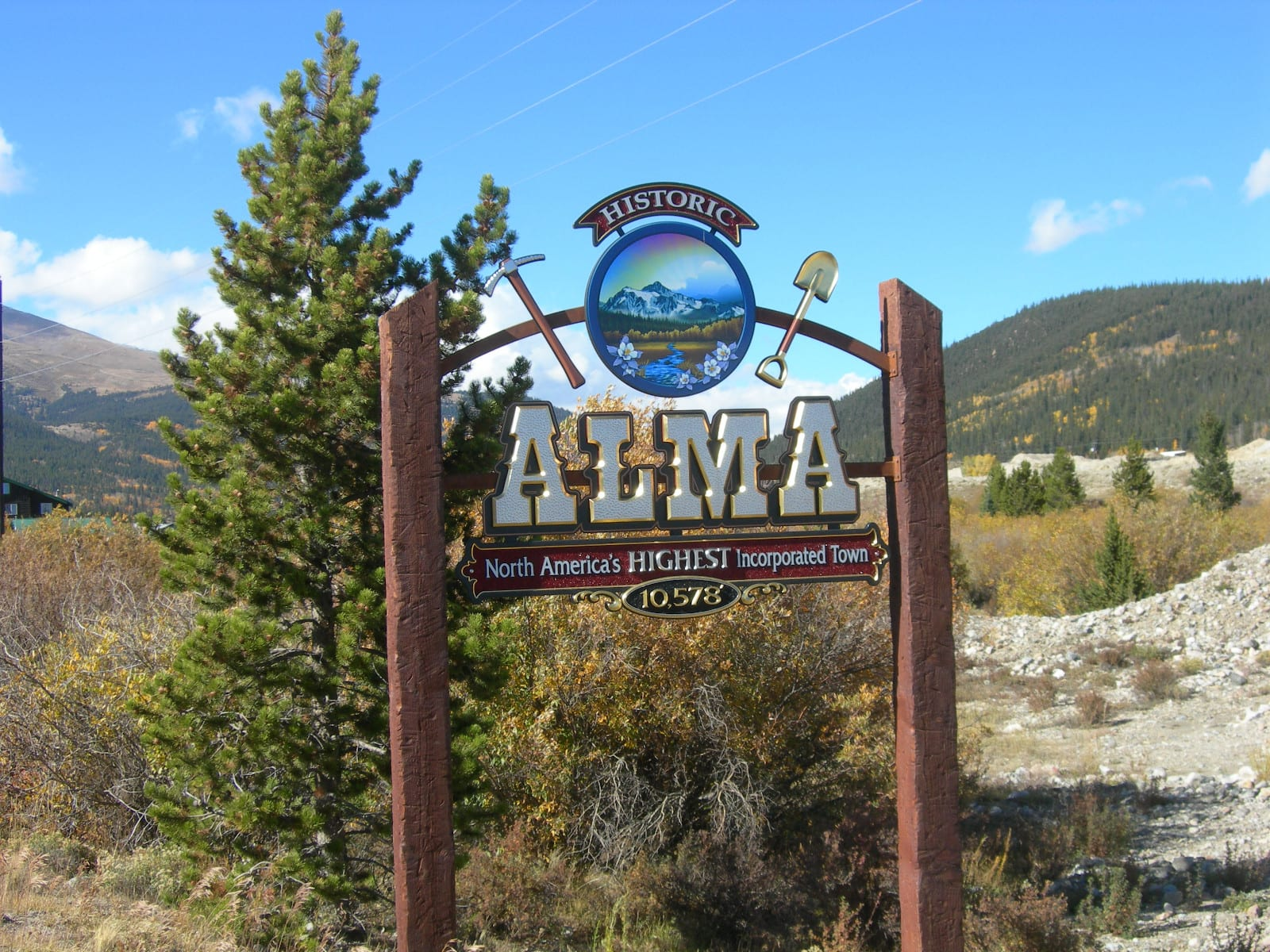 Colorado Town Motto Alma Welcome Sign