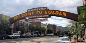 Colorado Town Mottos Golden Downtown Welcome Sign