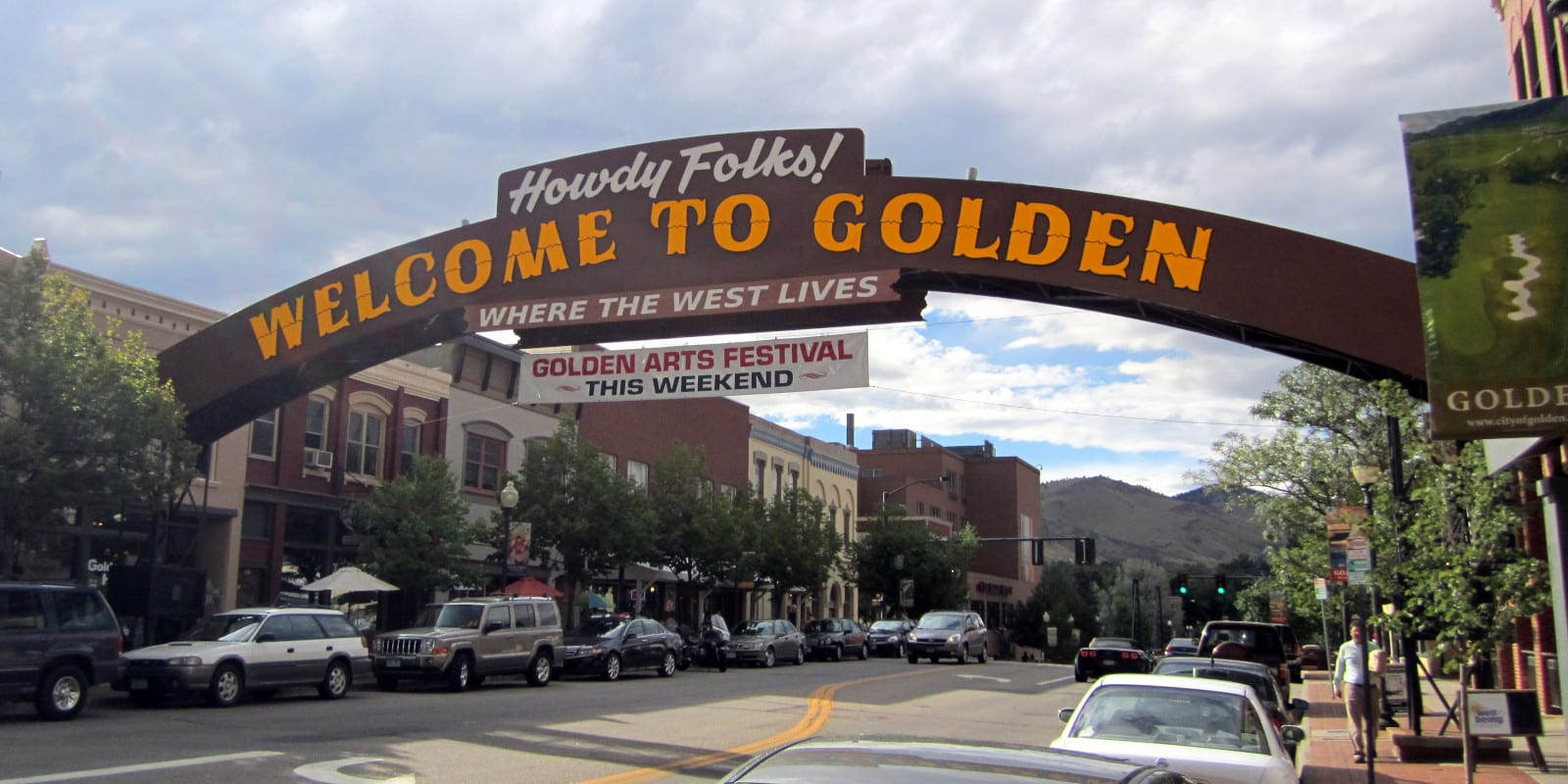 Colorado Town Mottos Golden Downtown Welcome Sign
