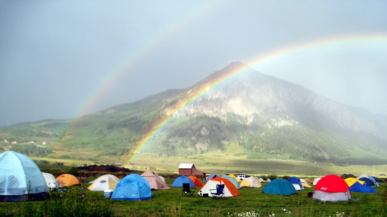 Tent Camping Double Rainbow Crested Butte Colorado