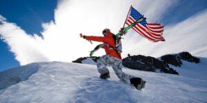 USA Flag Skier Hiker