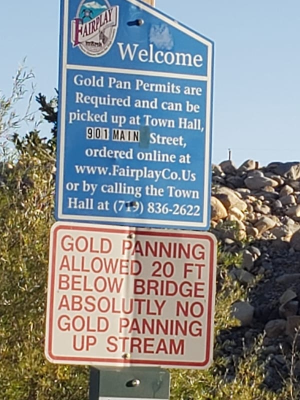 Gold Panning Sign Fairplay South Park Colorado