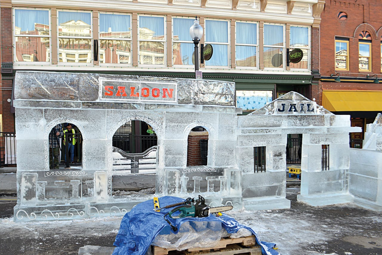 Cripple Creek Ice Fest Elephant Sculpture Colorado