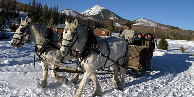 Hahns Peak Roadhouse Sleigh Ride Family