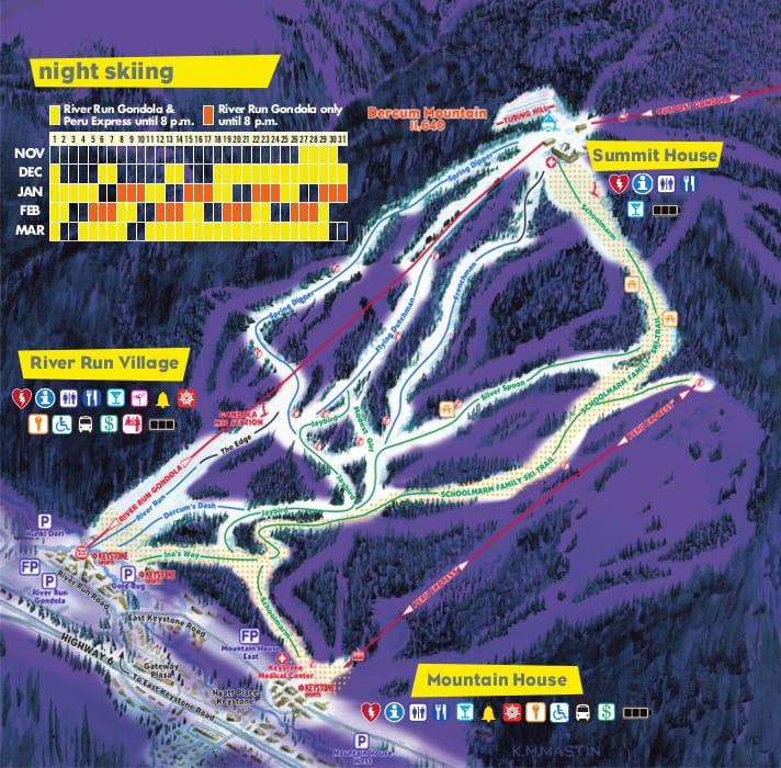 Keystone Night Skiing Schedule 2019-2020