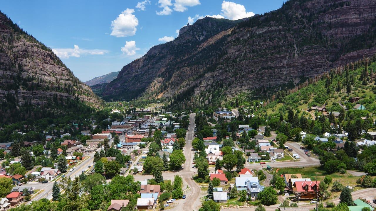 Ouray Colorado Aerial View