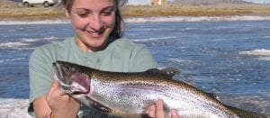 Colorado Ice Fishing Eleven Mile Reservoir Girl Catches Trout