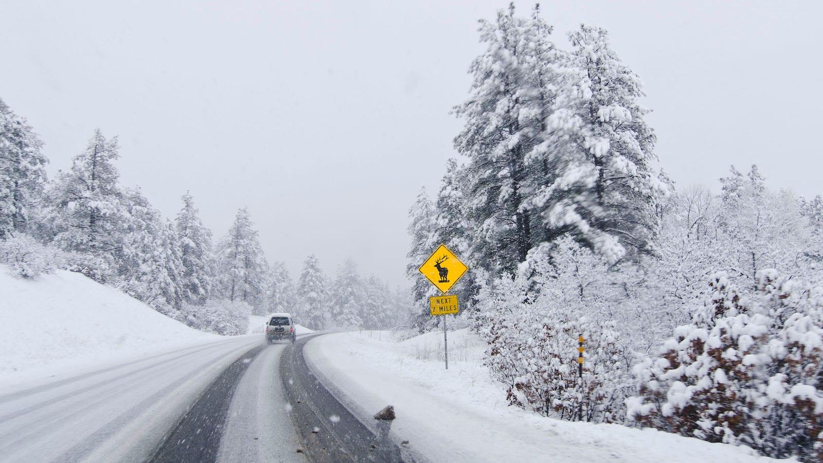 Colorado Winter Driving Snowy Highway Road