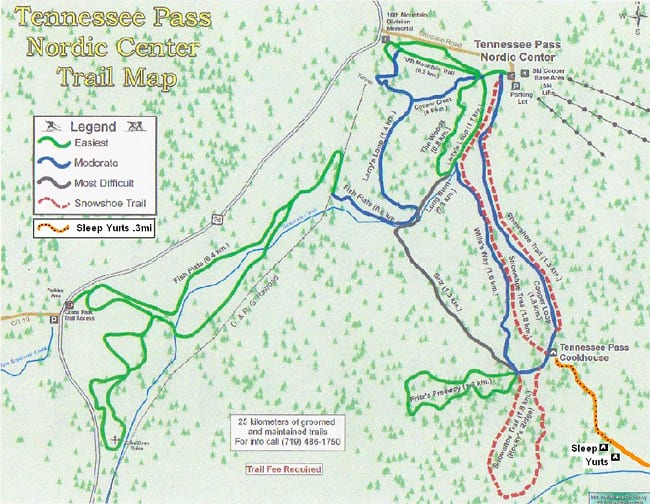 Tennessee Pass Nordic Center Trail Map
