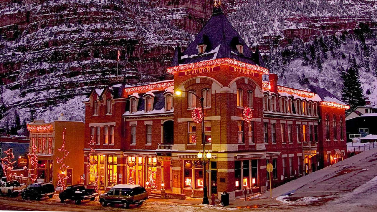 Beaumont Hotel Ouray Colorado Winter Lights