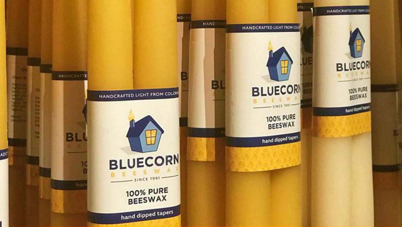 Bluecorn Beeswax Taper Candles