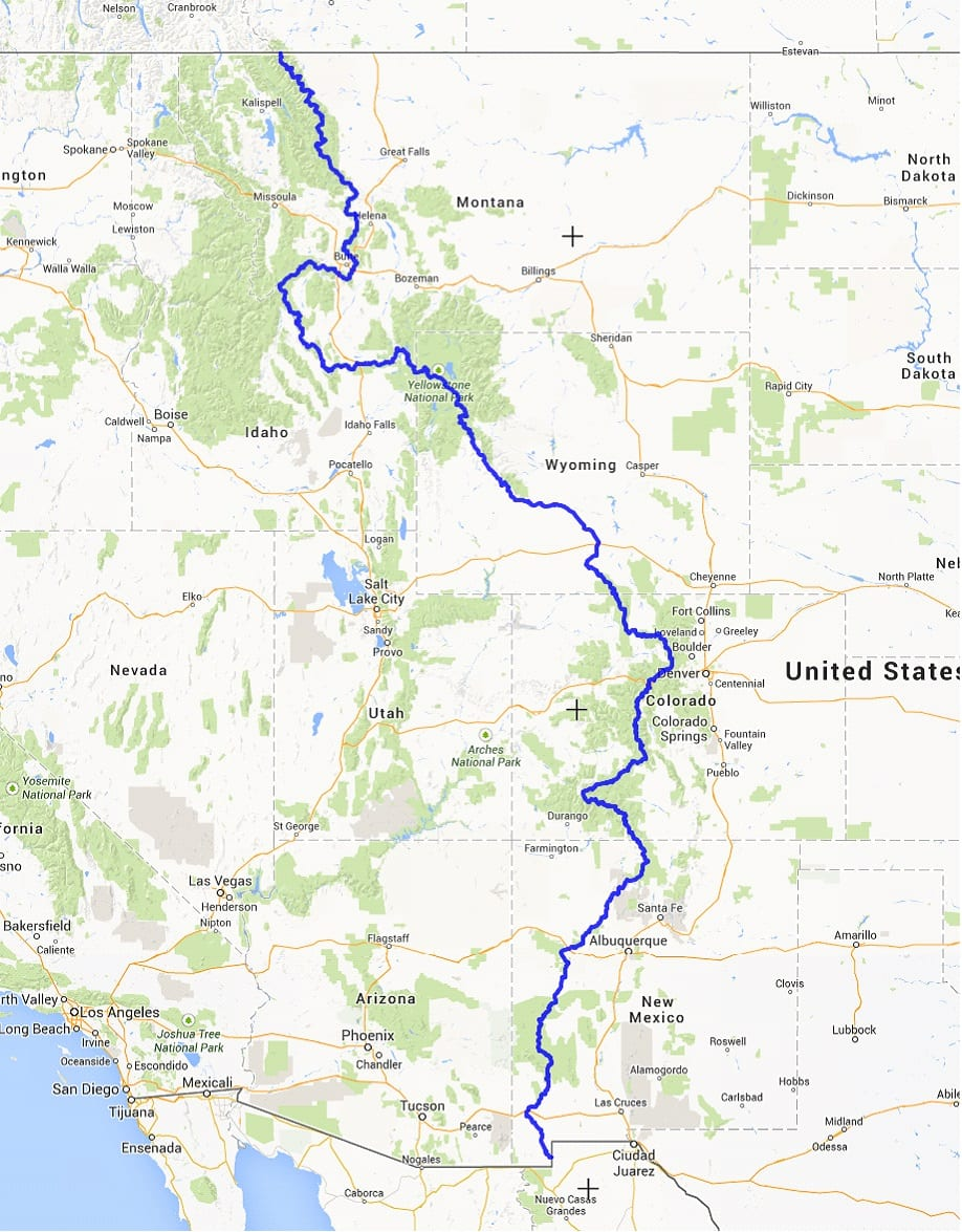 Continental divide national scenic trail colorado hiking trail map continental divide trail jpg sciox Image collections