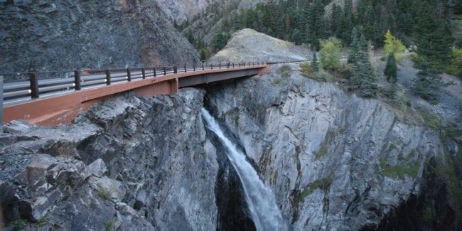 Bear Creek Falls Bridge Ouray Colorado