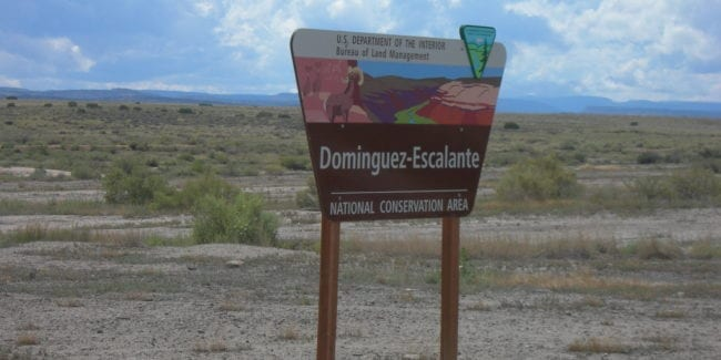 Dominguez-Escalante National Conservation Area Sign