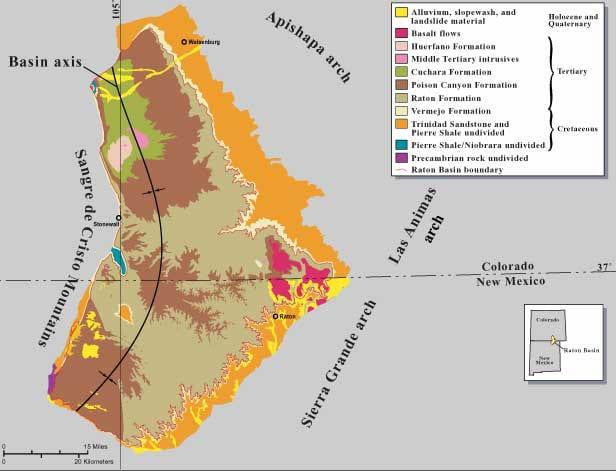 Raton Basin Map Colorado New Mexico