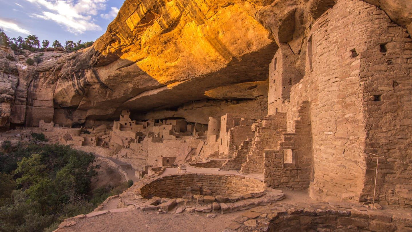 Cliff Palace Mesa Verde Sunset Colorado