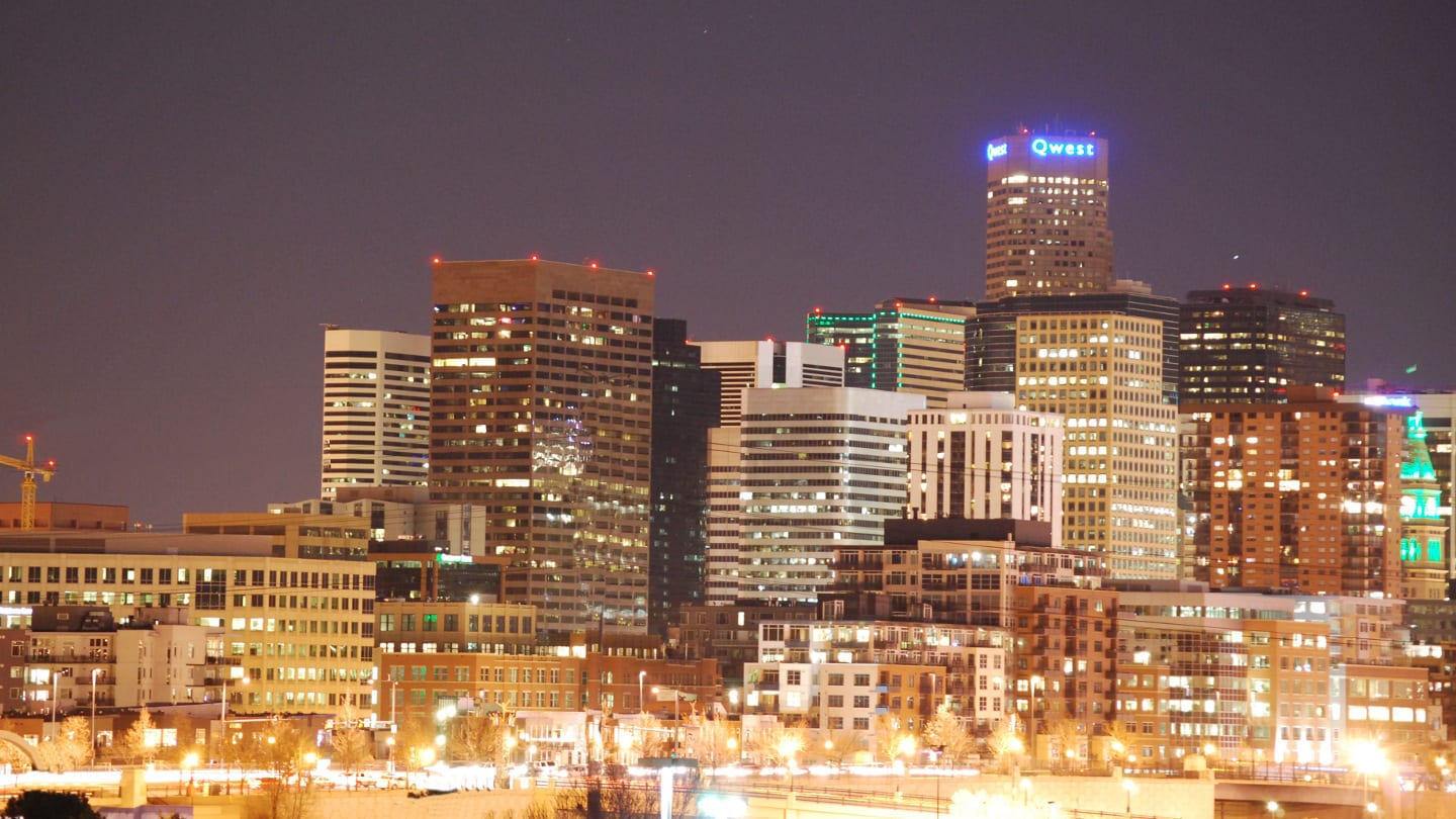 Downtown Denver Skyline Night Colorado