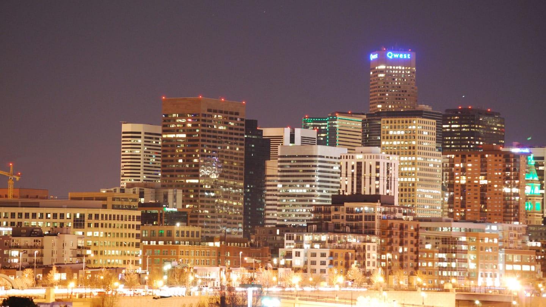 Downtown Denver Skyline Night Colorado