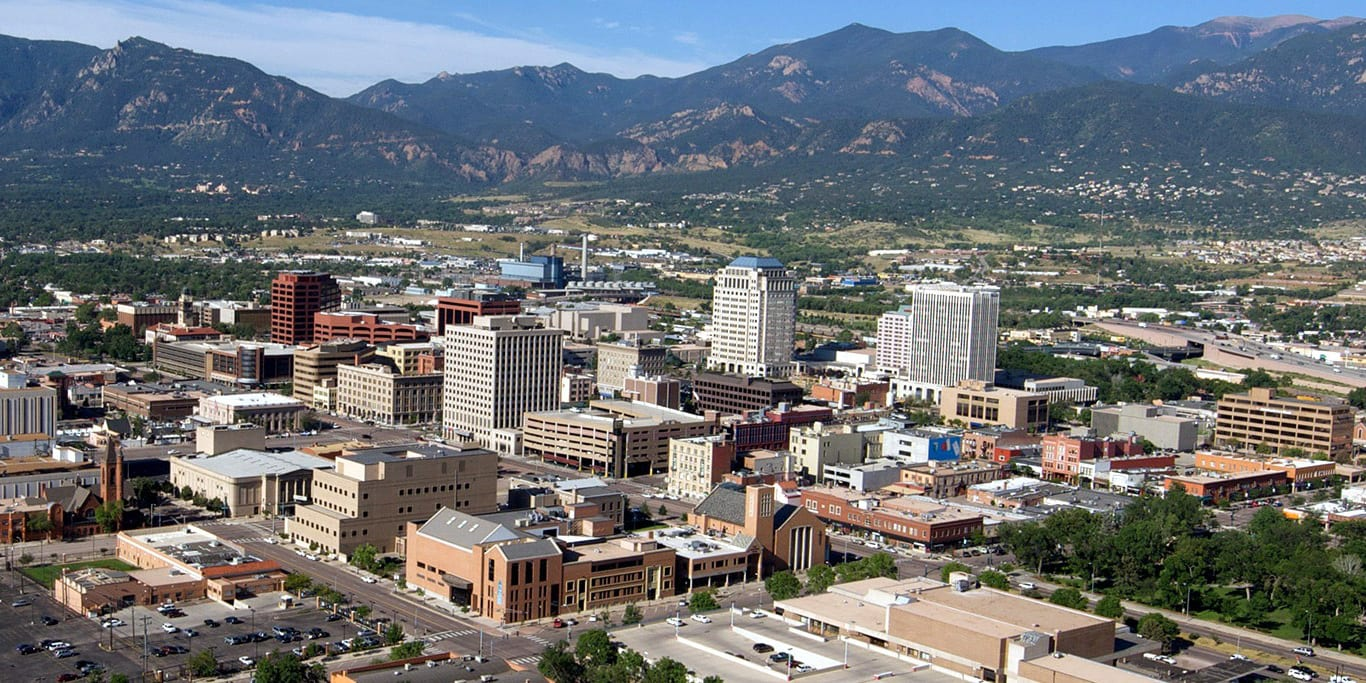 Colorado Springs Downtown Skyline Mountains