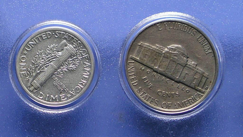 Denver Mint 1942 Dime Nickel
