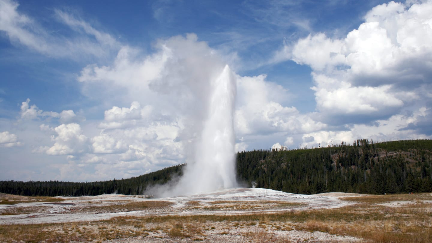 Yellowstone National Park Old Faithful Erupts