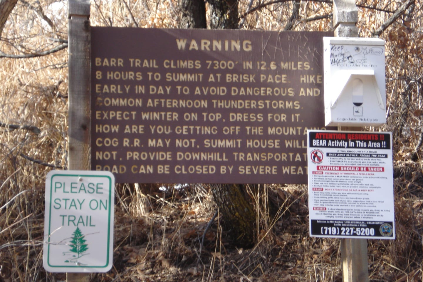 Barr Trailhead Warning Sign Colorado