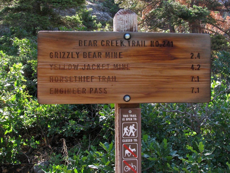 Bear Creek Trail Sign