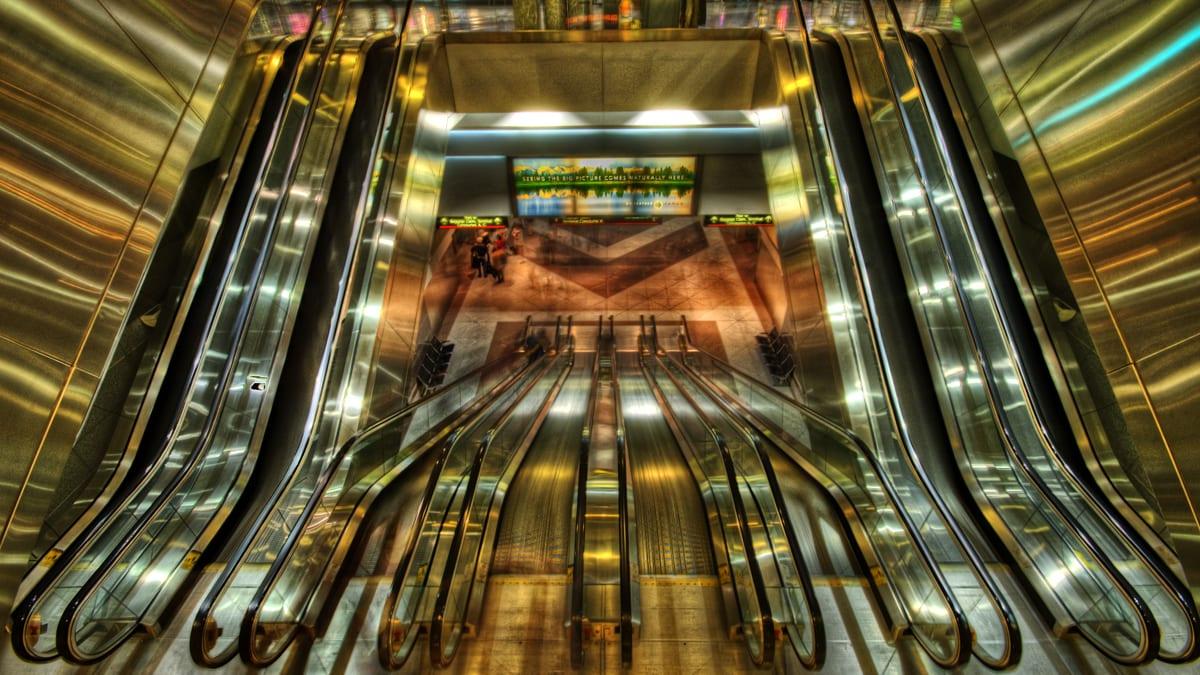 Denver International Airport Train Station Escalators