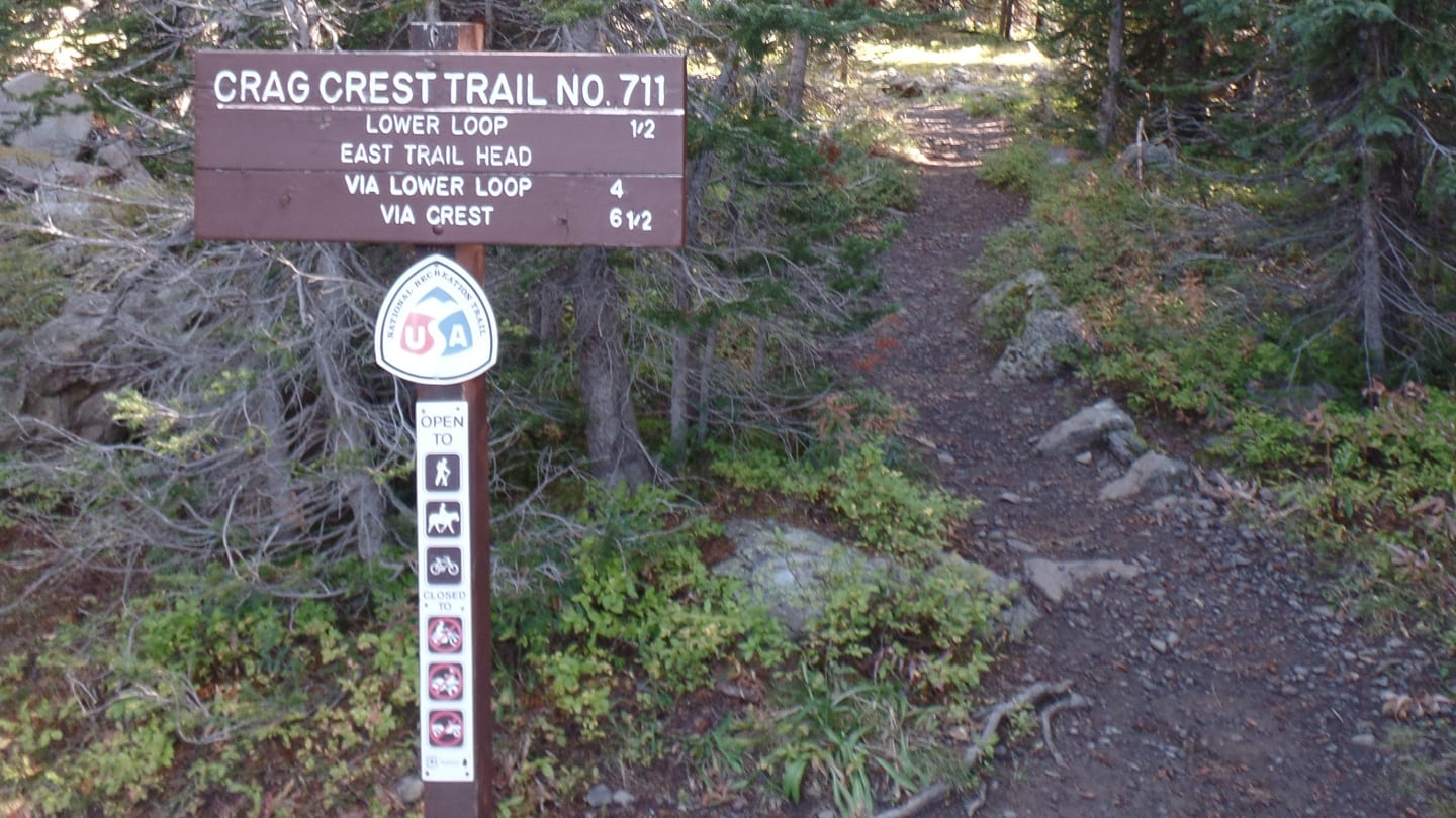 Crag Crest Trail Trailhead Sign