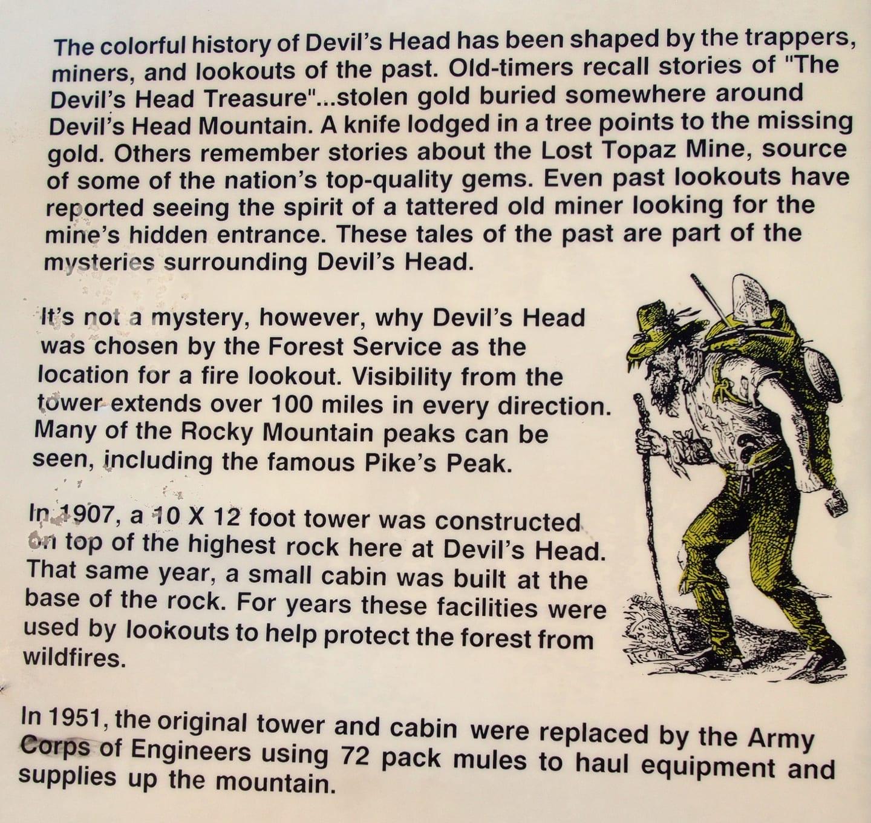 Devil's Head Trail Historic Interpretive Sign