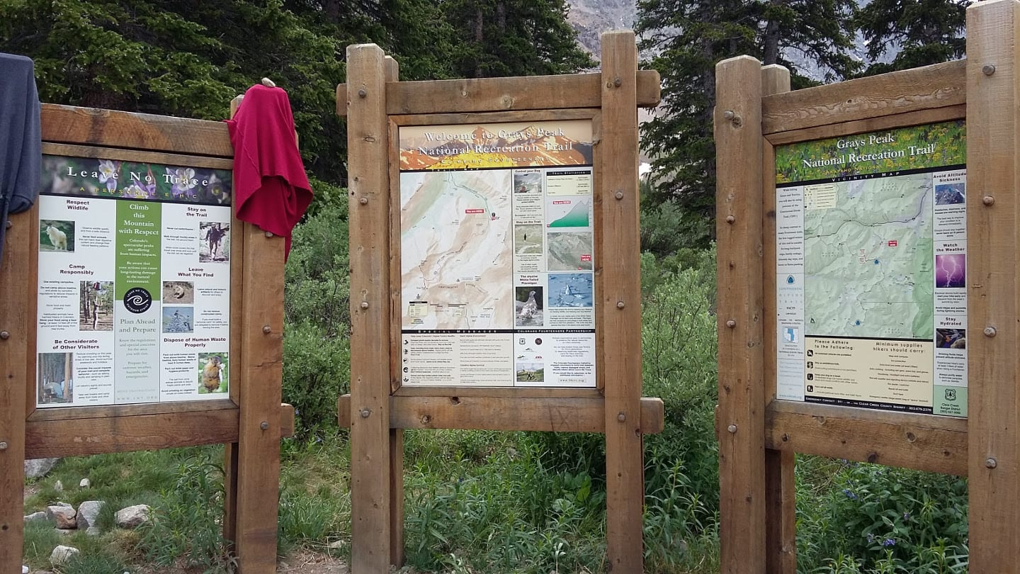 Grays Peak National Recreation Trail Trailhead Colorado